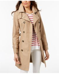 London Fog - Petite Hooded Belted Raincoat - Lyst