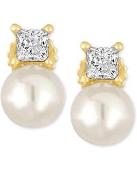 Majorica - Gold-tone Imitation Pearl And Crystal Stud Earrings - Lyst