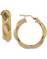 Macy's - Round Twist Hoop Earrings In 14k Gold - Lyst