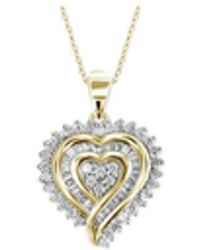 Macy's - Diamond Heart Pendant Necklace (1/2 Ct. T.w.) In 18k Gold Over Sterling Silver - Lyst