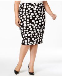 Eci - Plus Size Polka-dot Pencil Skirt - Lyst