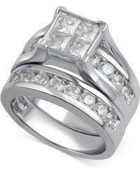 Macy's - Diamond Channel-set Bridal Set (3 Ct. T.w.) In 14k White Gold - Lyst