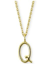 """Sarah Chloe - Amelia Initial 16"""" Pendant Necklace In 14k Gold - Lyst"""