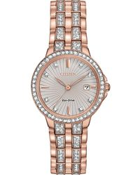 Citizen - Women's Eco-drive Crystal Accent Rose Gold-tone Stainless Steel Bracelet Watch 28mm Ew2348-56a - Lyst
