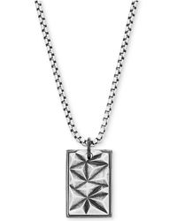 """Steve Madden - Silver-tone Textured Dogtag Pendant Necklace, 26"""" + 2"""" Extender - Lyst"""