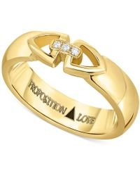 Proposition Love - Unisex Diamond Triangle Motif Ring In 14k Gold (1/10 Ct. T.w.) - Lyst