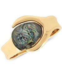 Robert Lee Morris - Gold-tone Abalone Stone Bangle Bracelet - Lyst