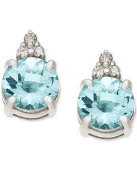 Macy's - Aquamarine (1-5/8 Ct. T.w.) & Diamond Accent Stud Earrings In 14k White Gold - Lyst