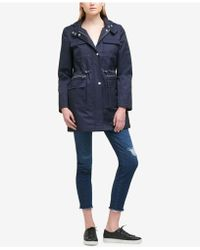DKNY - Hooded Cinched-waist Raincoat - Lyst