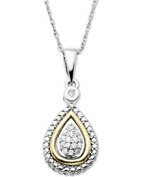 Macy's - 14k Gold And Sterling Silver Necklace, Diamond Accent Teardrop Pendant - Lyst