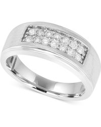 Macy's - Men's Diamond Ring (1/2 Ct. T.w.) In 10k White Gold - Lyst