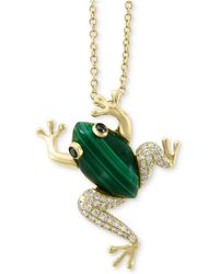 "Effy Collection - Effy® Malachite (14 X 8mm) & Diamond (1/6 Ct. T.w.) Frog 18"" Pendant Necklace In 14k Gold - Lyst"
