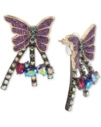 Betsey Johnson - Two-tone Colored Pavé Butterfly Burst Front-and-back Earrings - Lyst