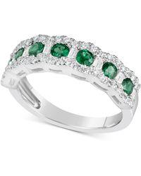42233a5f3 Macy's Sapphire (2-1/5 Ct. T.w.) And Diamond (3/4 Ct. T.w.) Ring In ...