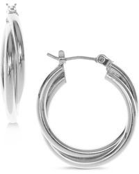 Nine West - Silver-tone Twisted Hoop Earrings - Lyst