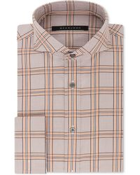 Sean John - Classic/regular Fit Brown And Orange Check French Cuff Dress Shirt - Lyst