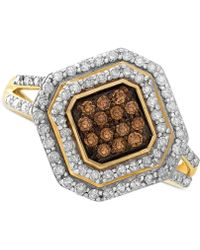 Wrapped in Love - White And Brown Diamond Ring In 14k Gold (1/2 Ct. T.w.) - Lyst