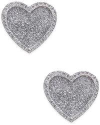 Macy's - Diamond Glitter Heart Stud Earrings (1/4 Ct. T.w.) In Sterling Silver - Lyst