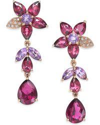 Effy Collection - Multi-stone Flower Drop Earrings In 14k Rose Gold (10-9/10 Ct. T.w.) - Lyst
