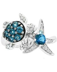 Effy Collection Effy® Blue Topaz (1 Ct.t.w.) And Diamond Accent Ring In Sterling Silver