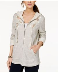 Style & Co. - Embroidered Hoodie Jacket, Created For Macy's - Lyst