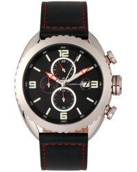 Morphic - M64 Series Chronograph Leather-band Watch W/ Date - Silver/black - Lyst
