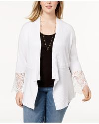 INC International Concepts - I.n.c. Plus Size Lace-trim Cardigan, Created For Macy's - Lyst