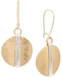Robert Lee Morris - Two-tone Wire Wrapped Hammered Disc Drop Earrings - Lyst