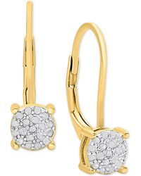 Macy's | Diamond Cluster Drop Earrings (1/4 Ct. T.w.) | Lyst