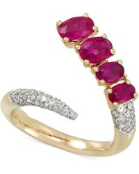 Rare Featuring Gemfields - Certified Ruby (1-5/8 Ct. T.w.) And Diamond (3/8 Ct. T.w.) Pavé Bypass Ring In 14k Gold - Lyst