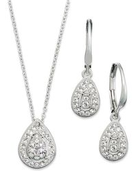 Danori - Jewelry Set, Rhodium-plated Crystal Teardrop Earrings And Pendant Necklace - Lyst