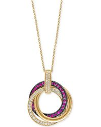 Effy Collection - Ruby (1/3 Ct. T.w.) And Diamond (1/4 Ct. T.w.) Pendant Necklace In 14k Gold - Lyst