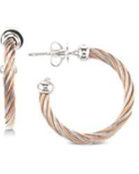 Charriol - Two-tone Cable Twist Hoop Earrings In Sterling Silver & Stainless Steel With Rose Gold Pvd - Lyst