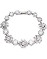 Marchesa - Silver-tone Crystal & Imitation Pearl Flex Bracelet, Created For Macy's - Lyst