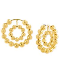 Steve Madden - Beaded Double Hoop Drop Earrings - Lyst
