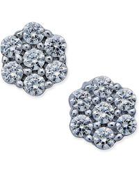 Macy's - Diamond Flower Stud Earrings (1 Ct. T.w.) In 14k White Gold - Lyst