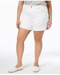 Seven7 - Seven7 Trendy Plus Size Frayed White Denim Shorts - Lyst