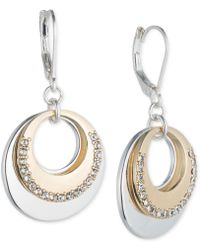 Nine West - Two-tone Pavé Circle Layered Drop Earrings - Lyst