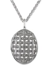 Effy Collection - Diamond Oval Pendant Necklace In 14k White Gold (1/5 Ct. T.w.) - Lyst
