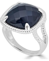 Macy's - Onyx (16mm) Twist Frame Statement Ring In Sterling Silver - Lyst