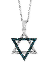 "Effy Collection - Effy® Diamond Star Of David 18"" Pendant Necklace (1/5 Ct. T.w.) In 14k White Gold - Lyst"