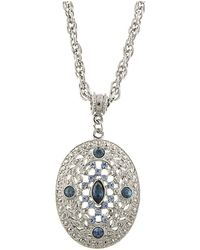 """2028 - Silver-tone Dark And Light Blue Crystal Filigree Oval Pendant Necklace 16"""" Adjustable - Lyst"""