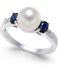 Macy's - Cultured Freshwater Pearl (7mm), Sapphire (5/8 Ct. T.w.) & Diamond Accent Ring In 14k White Gold - Lyst