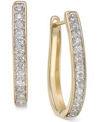 Macy's - Diamond Oval Hoop Earrings (3/8 Ct. T.w.) In 14k White Or Yellow Gold - Lyst