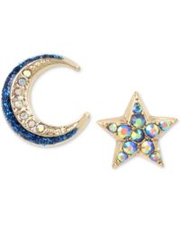 Betsey Johnson | Celestial Moon And Star Mismatch Earring Set | Lyst