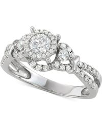 Macy's | Diamond Halo Engagement Ring (1 Ct. T.w.) In 14k White Gold | Lyst