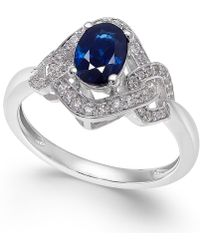 Macy's - Sapphire (9/10 Ct. T.w.) & Diamond (1/4 Ct. T.w.) Ring In 14k White Gold - Lyst