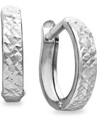 Macy's - 10k White Gold Earrings, Diamond Cut Hinged Hoop Earrings - Lyst