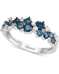 Effy Collection - Effy® Shades Of Bleu Diamond Cluster Band (3/4 Ct. T.w.) In 14k White Gold - Lyst