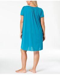 e8368ad038b5 Miss Elaine - Plus Size Tricot Flutter Sleeve Short Gown - Lyst